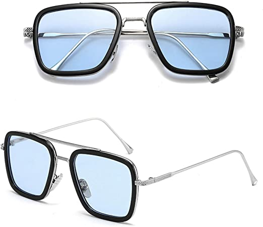Spider Man Glasses Tony Stark Sunglasses Square Silver Frame Grey