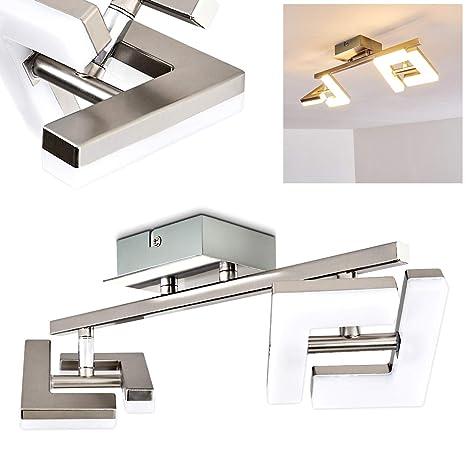 Lámpara de techo LED Lago - níquel mate - 2 luces- Lámpara de ambiente alargado para cocina - pasillo - salón - dormitorio con proyectores regulables ...