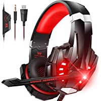 BENGOO Stereo Gaming Headset for PS4, PC, Xbox One Controller, Noise Cancelling Over Ear Headphones Mic, LED Light, Bass…