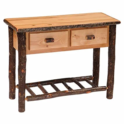 Hickory Sofa Table With Two Drawers Real High Quality Wood Western Lodge  Rustic