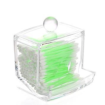 Richboom Clear Acrylic Q Tips Cotton Swabs Holder Cotton Bud Storage Box    Cosmetic Organizer