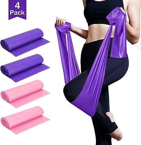 4PCS Ejercicios con bandas de resistencia para el entrenamiento de fuerza, fisioterapia, yoga, pilates, estiramientos, gimnasio en casa: Amazon.es: Deportes y aire libre