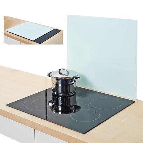 Cubierta para fuegos/ – Color Blanco – De Cristal – Protección contra salpicaduras – para cubrir la vitrocerámica – 56 x 50 cm