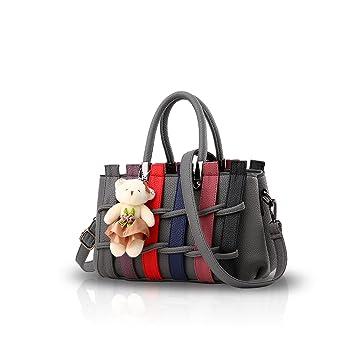 2bb8ddc8004 NICOLE DORIS Women Fashion Colorful Handbag Crossbody Shoulder Purse Tote  Shopping Bag Long Handles PU for Ladies Dark Gray  Amazon.co.uk  Luggage