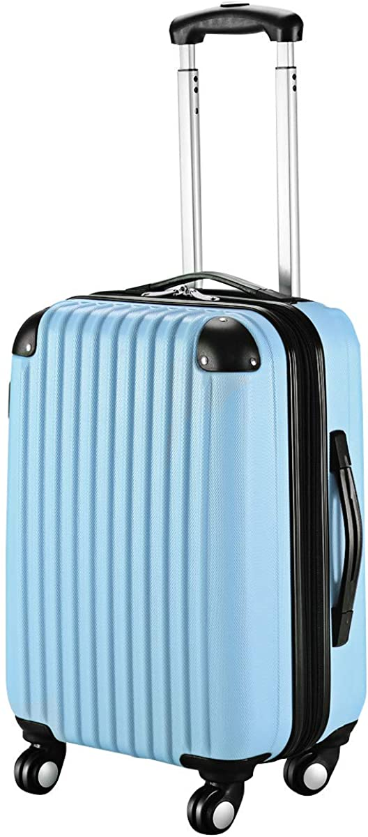 Goplus 20 ABS Carry On Luggage Expandable Hardside Travel Bag Trolley Rolling Suitcase GLOBALWAY Light Blue