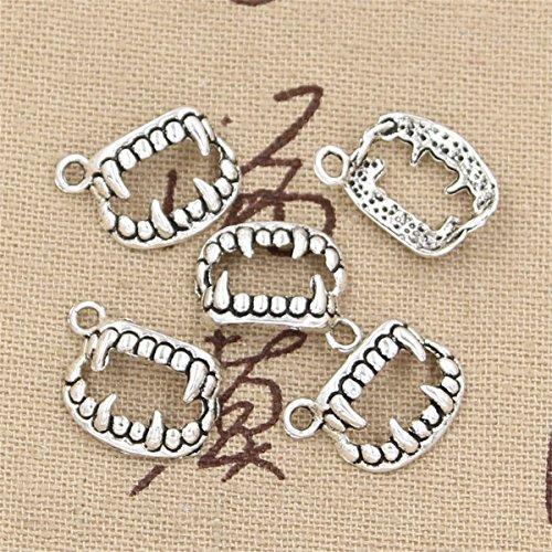 50pcs Charms Vampire Dracula Fangs Teeth Halloween 17x12mm Antique Making Vintage Tibetan Silver Zinc Alloy Pendant