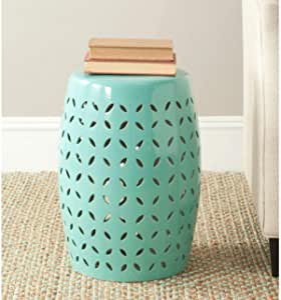 Safavieh Lattice Petal Ceramic Decorative Garden Stool, Robin's Egg Blue