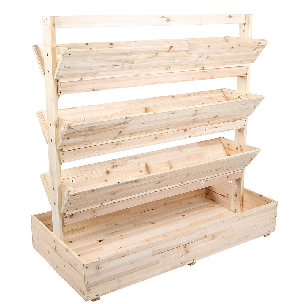Wooden Garden Flower Planter Stand Large Space Vertical With 4 Tiers by VIVA HOME