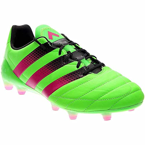 adidas Mens Ace 16.1 FG AG Leather Solar Green Shock Pink Black Sneaker ff46f99ad440