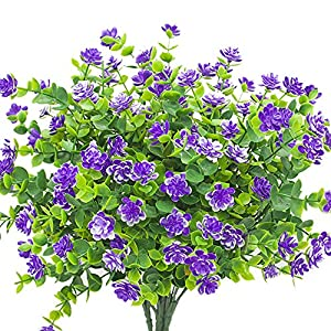 YISNUO Artificial Flowers, Fake Outdoor UV Resistant Plants Faux Plastic Greenery Shrubs Indoor Outside Hanging Planter Home Kitchen Office Wedding, Garden Decor(Purple) 84