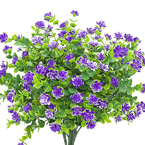 YISNUO Artificial Flowers, Fake Outdoor UV Resistant Plants Faux Plastic Greenery Shrubs Indoor Outside Hanging Planter Home Kitchen Office Wedding, Garden Decor(Purple)