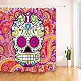 LB Mexican Sugar Skull Colorful Paisley Pattern Background Shower Curtains for Bathroom, Dia De Los Muertos House Decor Curtain, 70'' x 70'' Shower Curtain Set Waterproof Mold Resistant