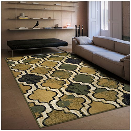 Superior Modern Viking Collection Area Rug, 10mm Pile Height with Jute Backing, Chic Textured Geometric Trellis Pattern, Anti-Static, Water-Repellent Rugs - Green, 5' x 8' Rug - Green Gold Area Rug