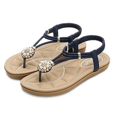 Moserian Damen Schuhe Mode Rom Floral Flip Flops Niedrige