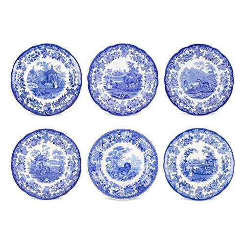 (Spode Blue Room Zoological Plates, Set of 6 Assorted Motifs)