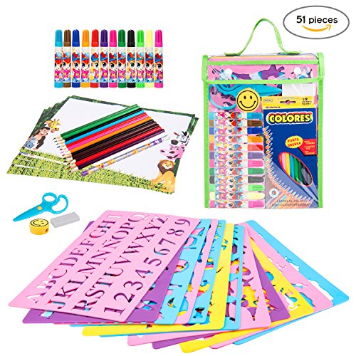 [51 Pieces] Stencil Drawing Kit Art Set for Kids Educational Toy to Enhance Children Creativity and Travel Activity Kit with over 300 Shapes, Ideal Gift for Boys and Girls