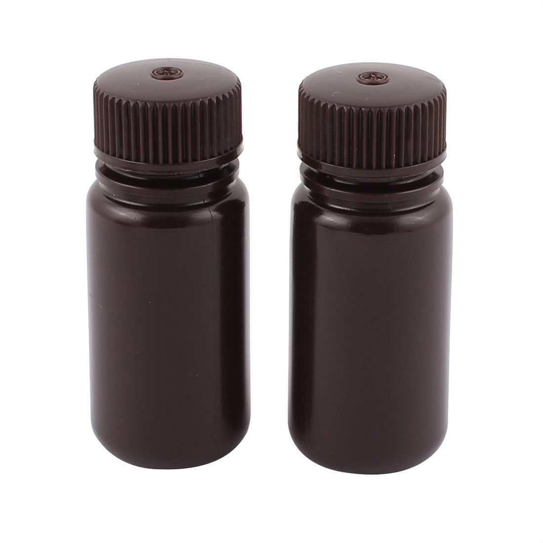sourcingmap® 2Pcs 100ml Brown Plastic Wide Mouth Sealed Reagent Bottle Laboratory Supplies