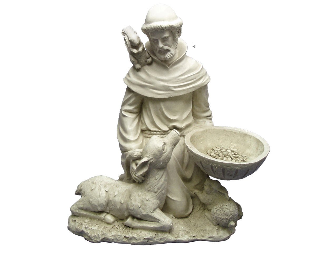 Religious Christian Sculpture St. Francis Feeds Lamp Animals Squirrel Home Garden Statue