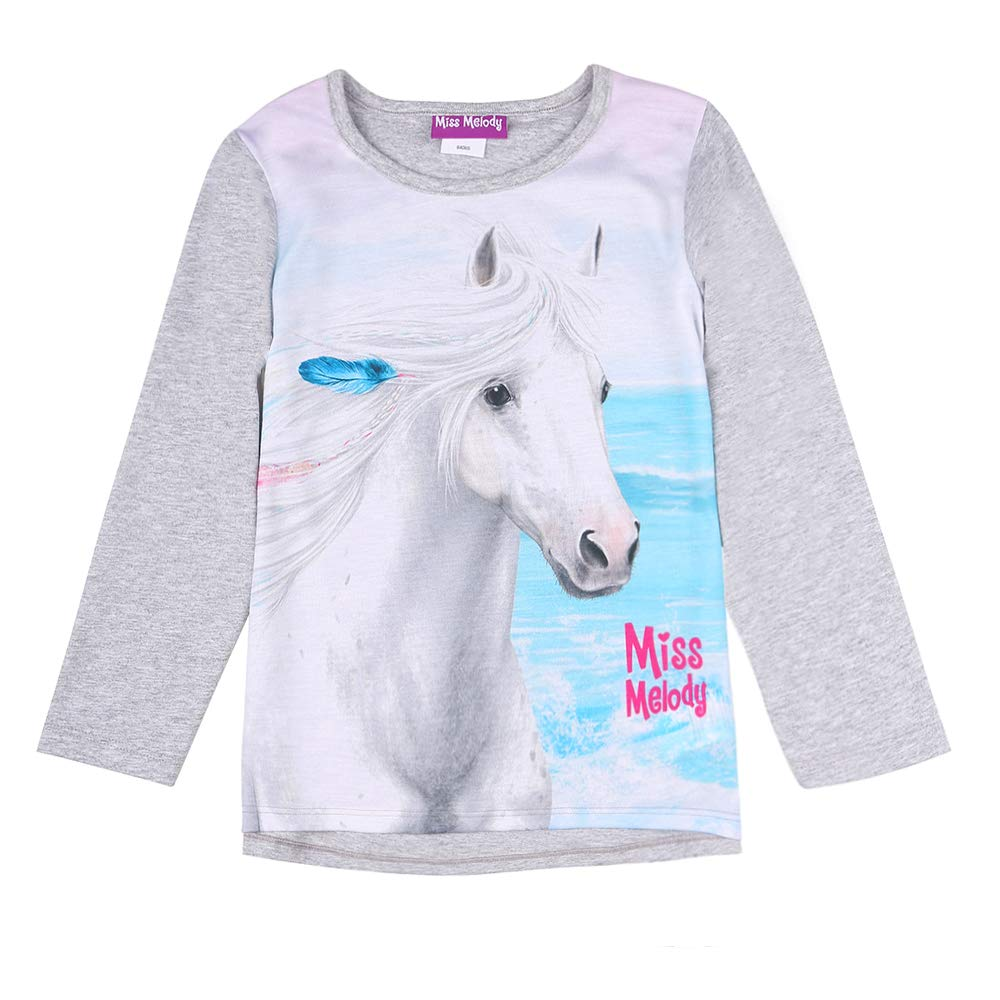 Miss Melody Ragazza T-Shirt Manica Lunga Grigio