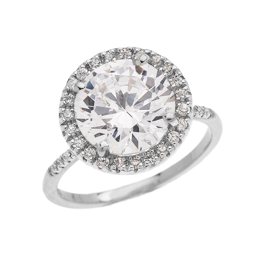 Dainty 14k White Gold Diamond Engagement Ring with CZ Center-stone (Micro Pave Setting) (Size 11.5)