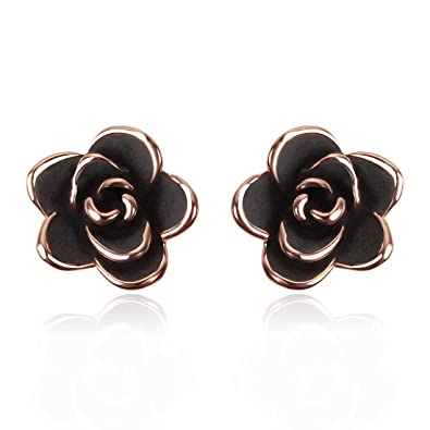 94bc27e03 Image Unavailable. Image not available for. Color: Agvana 14K Gold Plated  Black Rose Flower Stud Earrings Hypoallergenic ...