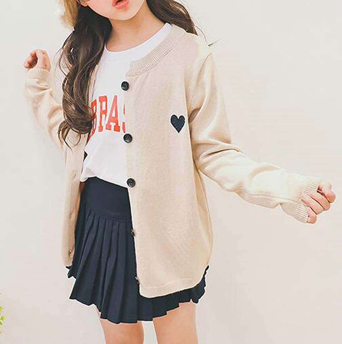 Macondoo Big Girls Coat Knit Sweater Crew Neck Button Front Cardigans