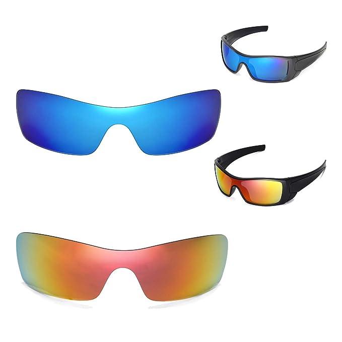 Walleva - Gafas de sol polarizadas para Oakley Batwolf, color rojo y azul hielo