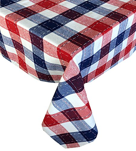 Lintex Americana Patriotic Plaid Cotton Weave Fabric Tablecloth, ,  Festive Red, White and Blue Heavy Weight Tablecloth by Lintex, 60