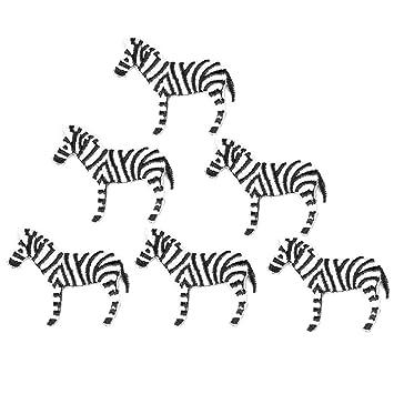 xunhui cebra animales DIY bordado parches para la ropa parches 6 piezas