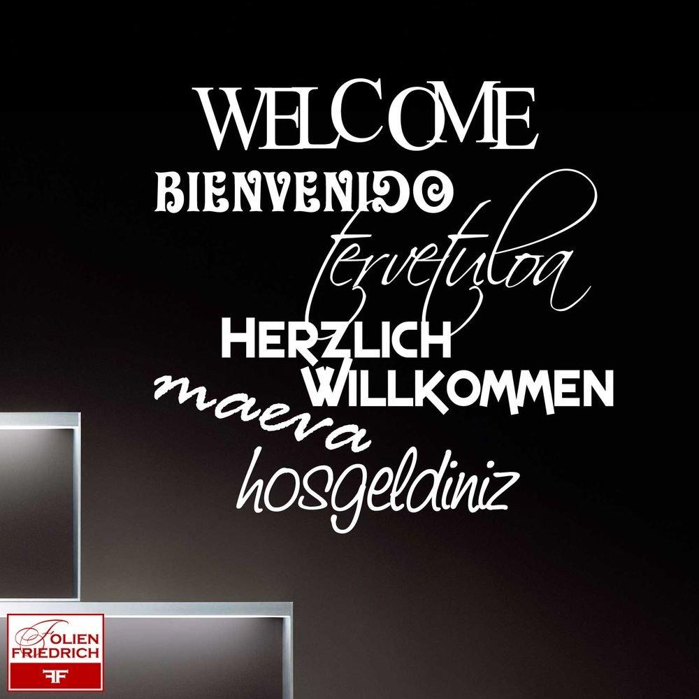 Wandtattoo W284 Willkommen In Verschiedenen Sprachen Flur 58x54