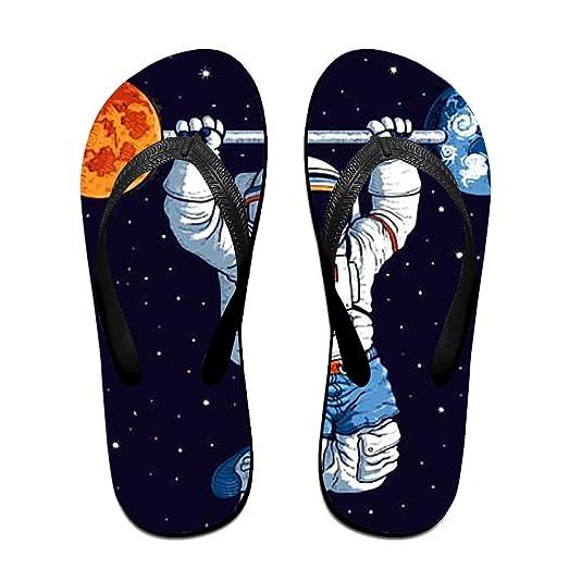 Unisex Rainbow Planet Astronaut Summer Fashion Flip Flops Beach Slippers