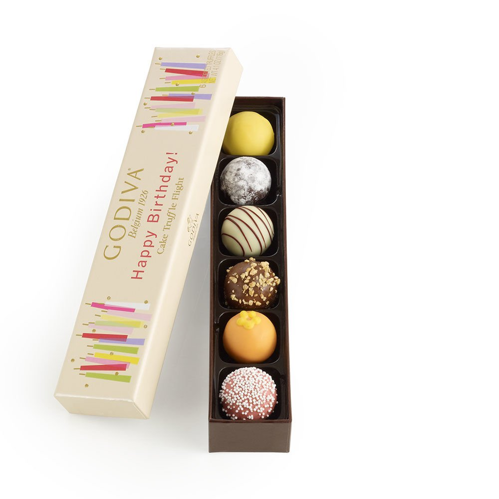 Godiva Chocolatier Happy Birthday Cake Chocolate Truffle Flight, 6 Count Gift Box