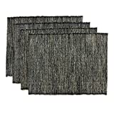 NOVICA Black Natural Fiber Cotton Blend Placemats, 'Nature By Night' (Set of 4)