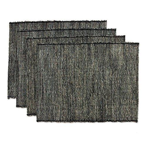 NOVICA Black Natural Fiber Cotton Blend Placemats, 'Nature By Night' (Set of 4) by NOVICA