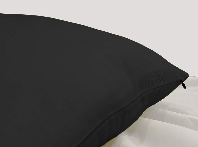 Encasa Homes Fundas de Cojines 2 Piezas (50x50 cm) - Gris carbón - Lona de algodón teñida Forma sólida, Decorativa, Grande y Colorida, Lavable Funda ...