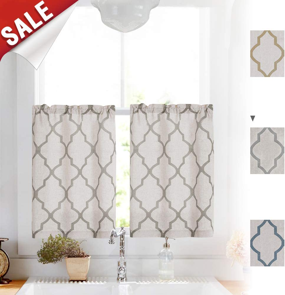 "Grey Linen Kitchen Curtains Moroccan Tile Design Cafe Curtains for Window Treatment Set 2 Panels 26"" W x 24"" L Gray on Flax"