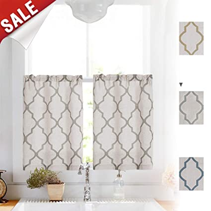 Linen Kitchen Curtains 36 Length Moroccan Design Cafe Curtains for Window  Treatment Set (2 Panels, 26\