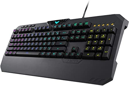 Asus TUF Gaming K5 - Tecládo Mech-Brane, anti-ghosting, RGB, Reposamuñecas integrado, teclas programable, configura con una intuitiva interfaz