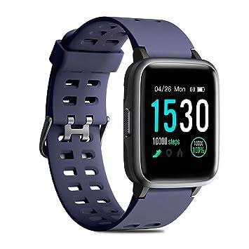 CHEREEKI Reloj Inteligente, Smartwatch Impermeable IP68 Pulsera Actividad 1.3 Pulgada con Monitor de Ritmo cardíaco, Podómetro, Control de música, ...