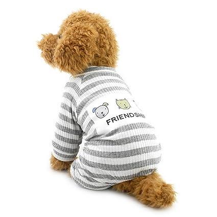 ZUNEA Stripe pijamas para perros pequeños Cotton Puppy Jumpsuit Sweatshirts Acogedores trajes Soft Leisure otoño mascotas