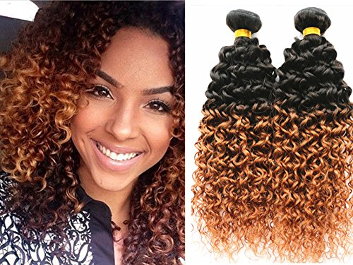 YAMI 7a Two Tone Jerry Curl Ombre Hair Weaves Brown Color 1B 30 Brazilian Human Hair 3 pcs lot Ombre Brazilian Jerry Curly Hair Bundles (12 14 16) (2 Tone Hair)