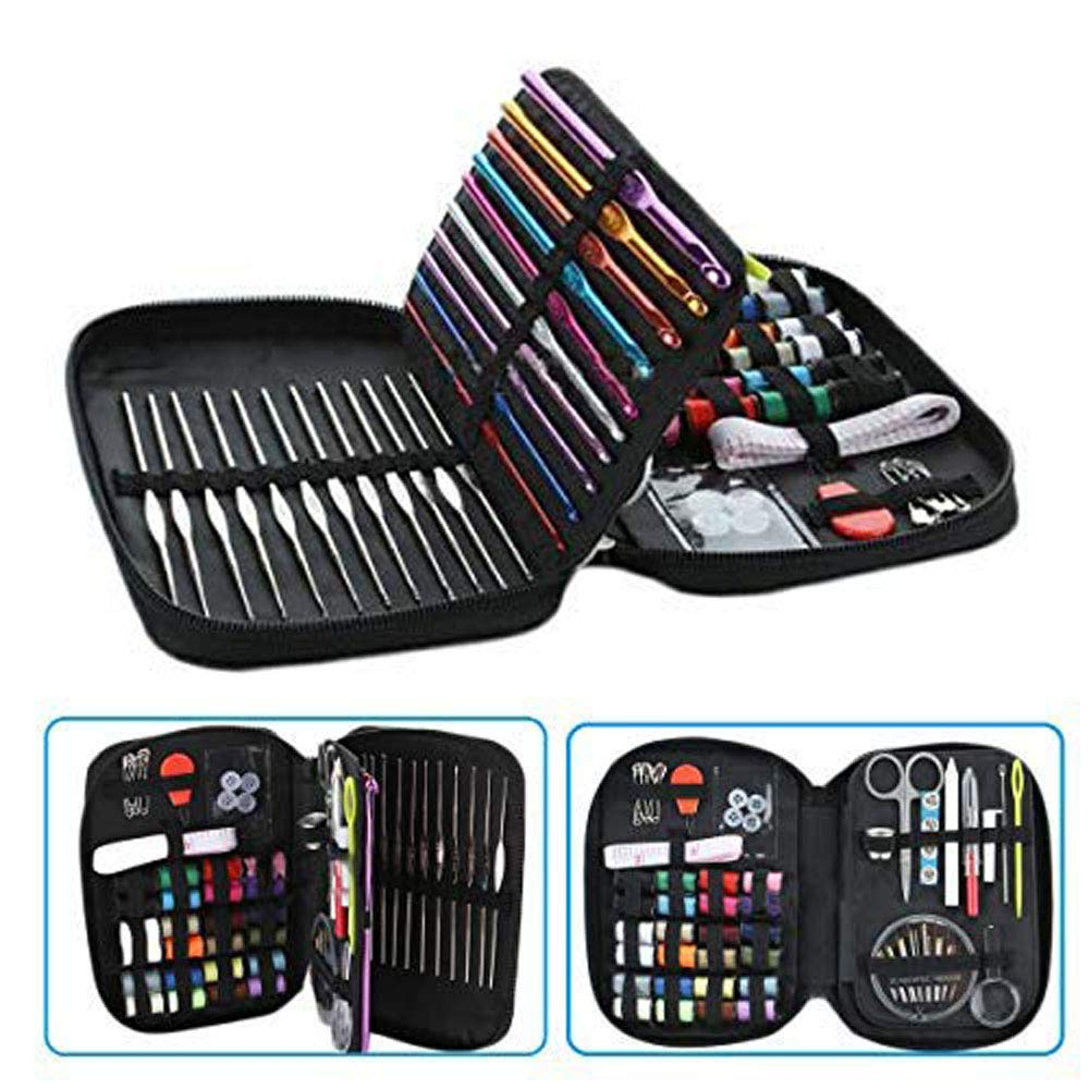 Dproptel 102pcs Crochet Hooks Set Travel Sewing Kit, Knitting Tool Accessories with Leather Case for Beginners, Emergency, Kids, Summer Campers and Home
