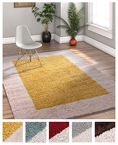Porta Border Modern Geometric Shag 7x10 (6'7'' x 9'10'') Area Rug Gold Beige Plush Easy Care Thick Soft Plush Living Room