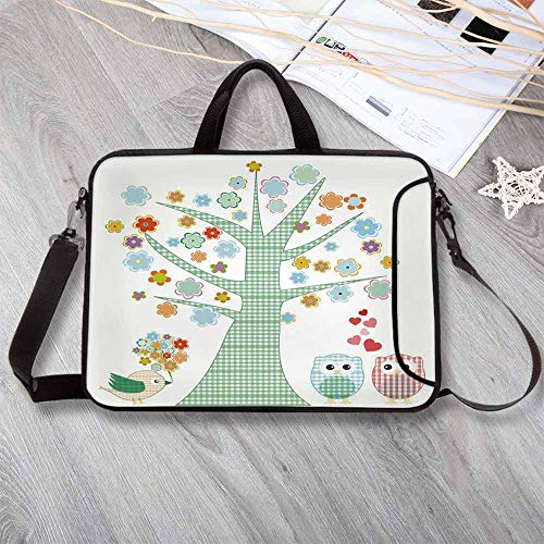 (Nursery Portable Neoprene Laptop Bag,Romantic Owls in Love and Big Tree with Colorful Blossoms Bird Bouquet Decorative Laptop Bag for Travel Office School,8.7