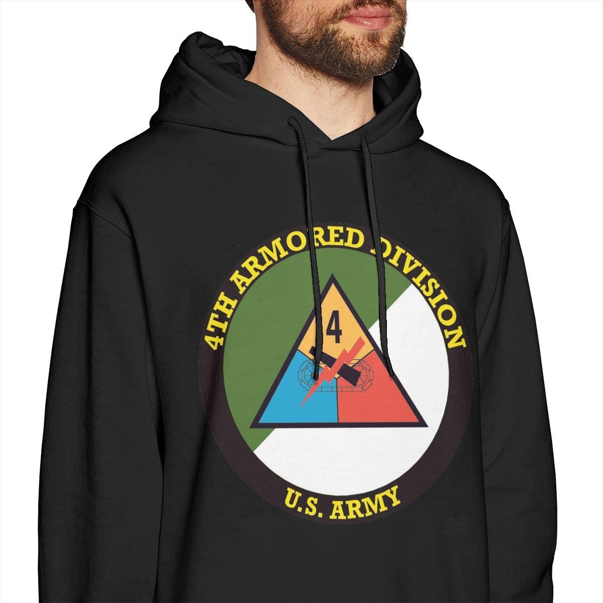 4th Armored Division Shield Mens Pullover Hooded Sweatshirt Cozy Sport Outwear Black