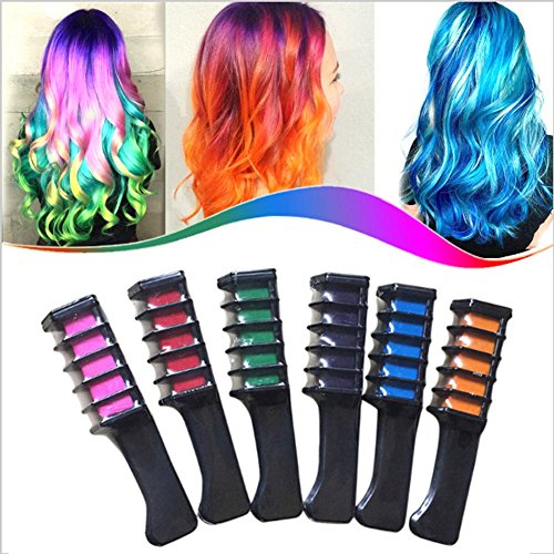 Tianmeijia 6-color PACK Temporary Hair Color Comb-Washable Hair