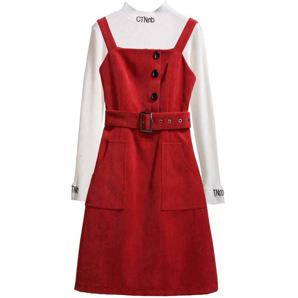 L BINGQZ Strap skirt skirt female autumn and winter 2019 spring new small two-piece red dress