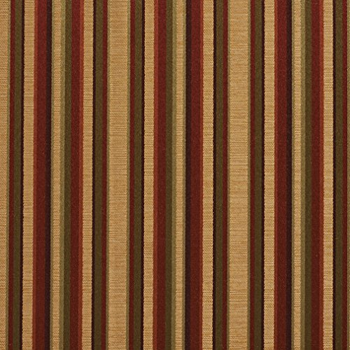 B0230B Burgundy Gold and Green Shiny Thin Striped Silk Satin Look Upholstery Fabric by The Yard ()