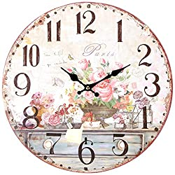 Lily's Home Vintage Inspired French Pink Flowers Kitchen Wall Clock, Battery-Powered with Quartz Movement, Ideal Gift for Paris or Coffee Lovers (13 Diameter)