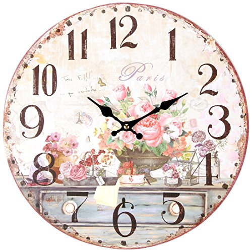 """Lily's Home Vintage Inspired French Pink Flowers Kitchen Wall Clock, Battery-Powered with Quartz Movement, Ideal Gift for Paris or Coffee Lovers (13"""" Diameter) from Lilyshome"""